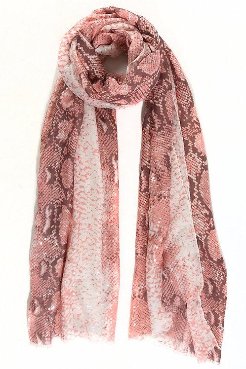 Snakeskin Pattern Pink Scarf