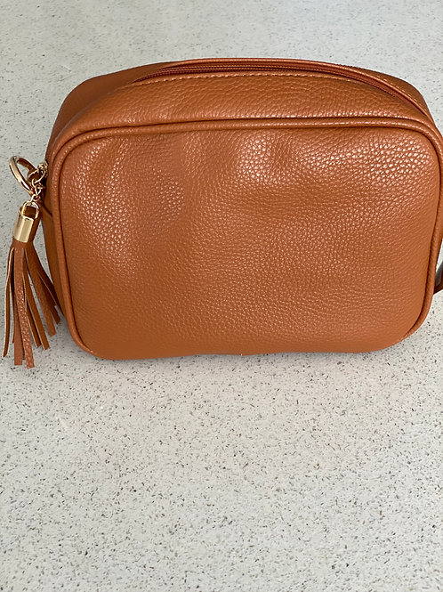 Single Zip Cross Body Bag - Tan
