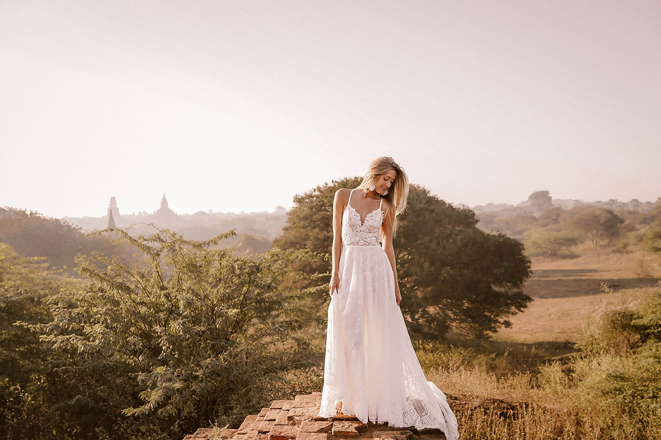 Bride in Giselle gown by Flora and Lane.