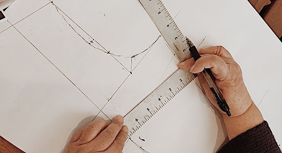 Custom wedding dress design sketch and pattern making..
