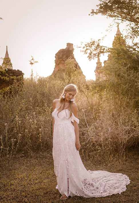 A bride wearing Flora and Lane's Indie gown.