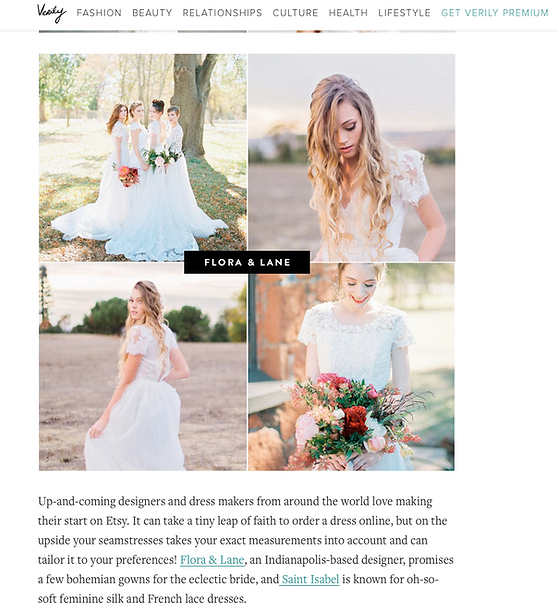 Image of an article on Flora & Lane from a wedding blog.