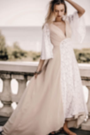 Bride adorned in boho accessories dressed in the Lavie gown.