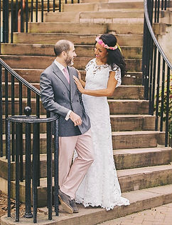 Flora & Lane boho bride and groom.
