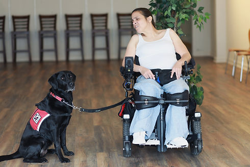 Ciara in her power wheelchair looking at her service dog.