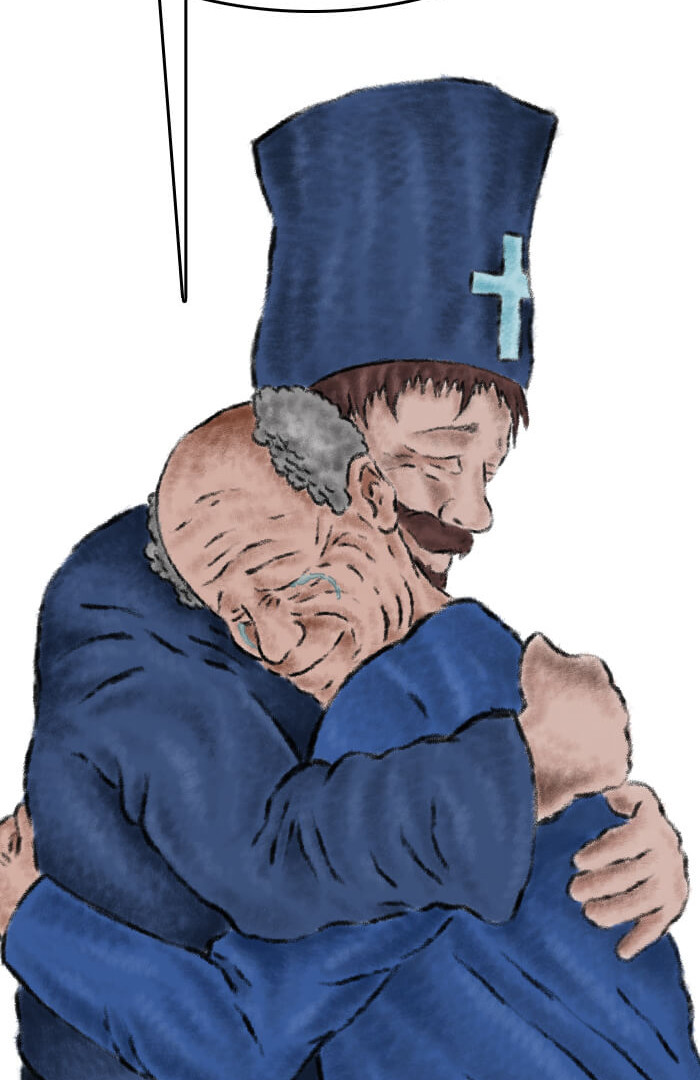 Joseph embracing Father Gabriel