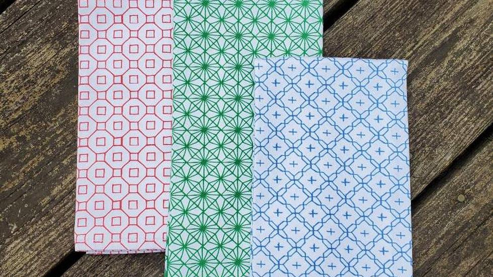 Handmade, 100% Cotton Geometric Tea Towel