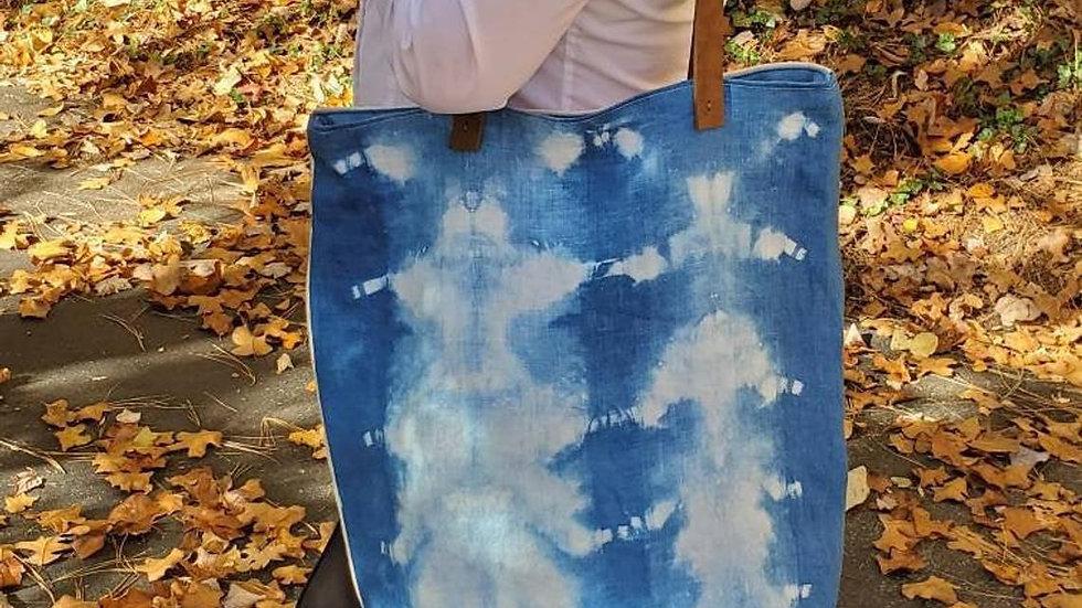 Natural Indigo, Hand Dyed Shibori Extra Large Tote Bag