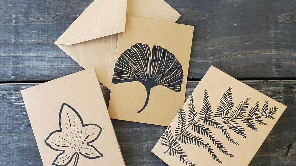 Hand Printed Plant Leaf Notecards