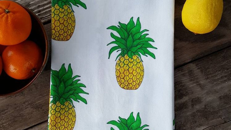 Handmade, 100% Cotton, Pineapple Tea Towel