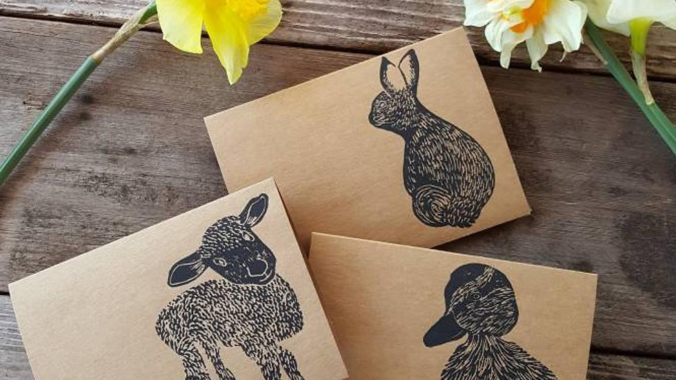 Hand Printed Spring Babe Notecards