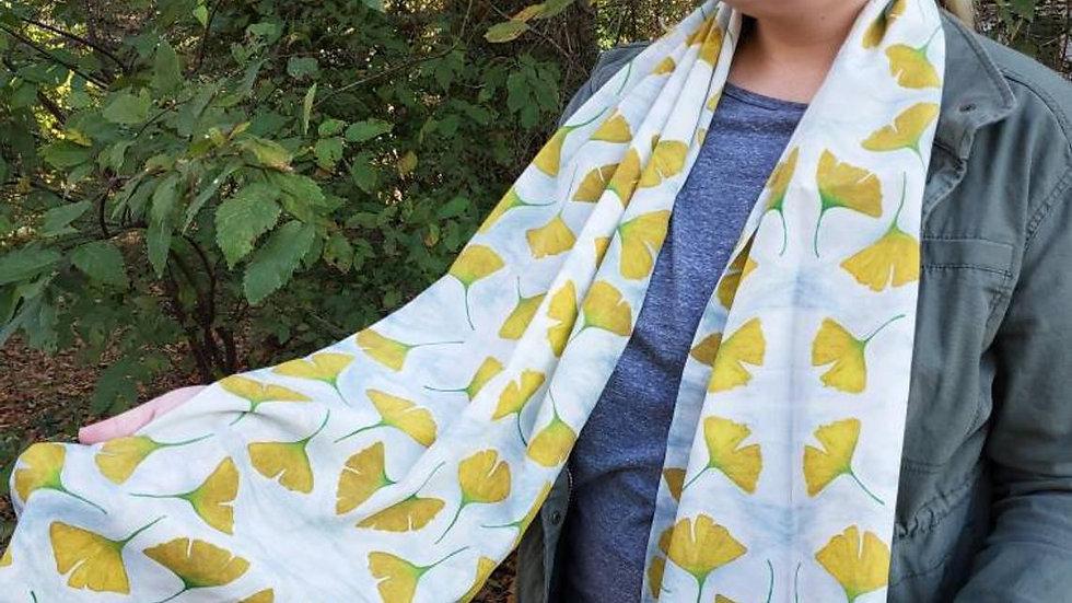 Ginkgo Leaf Silk Scarf