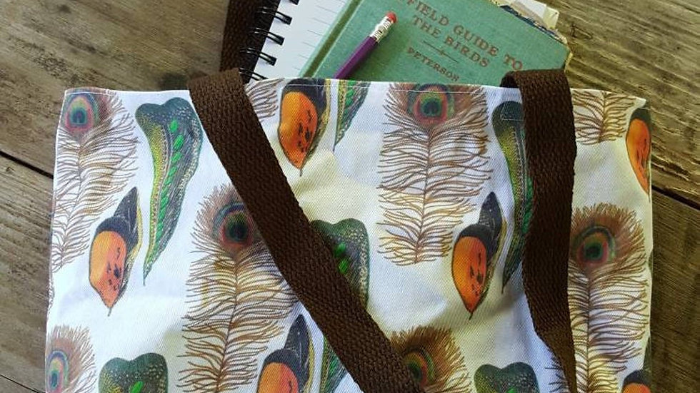 Peacock Feather Farmer's Market Tote Bag