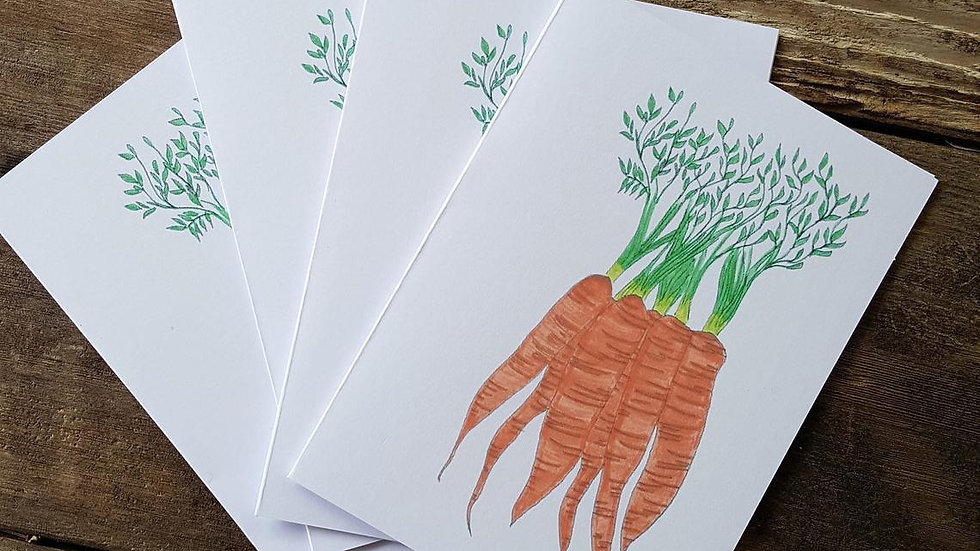 Hand Illustrated Carrot Greeting Cards