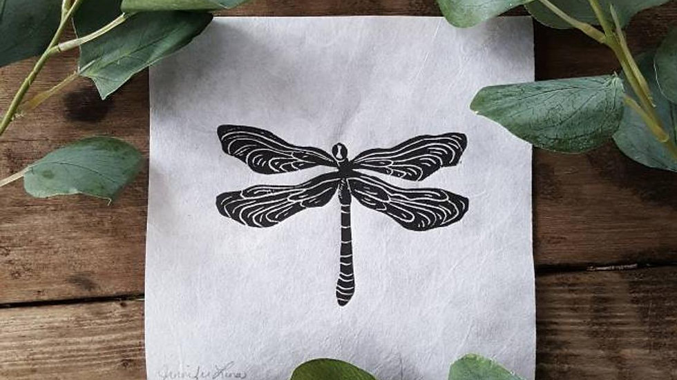 Hand Pulled, Linoleum Block, Dragonfly Print