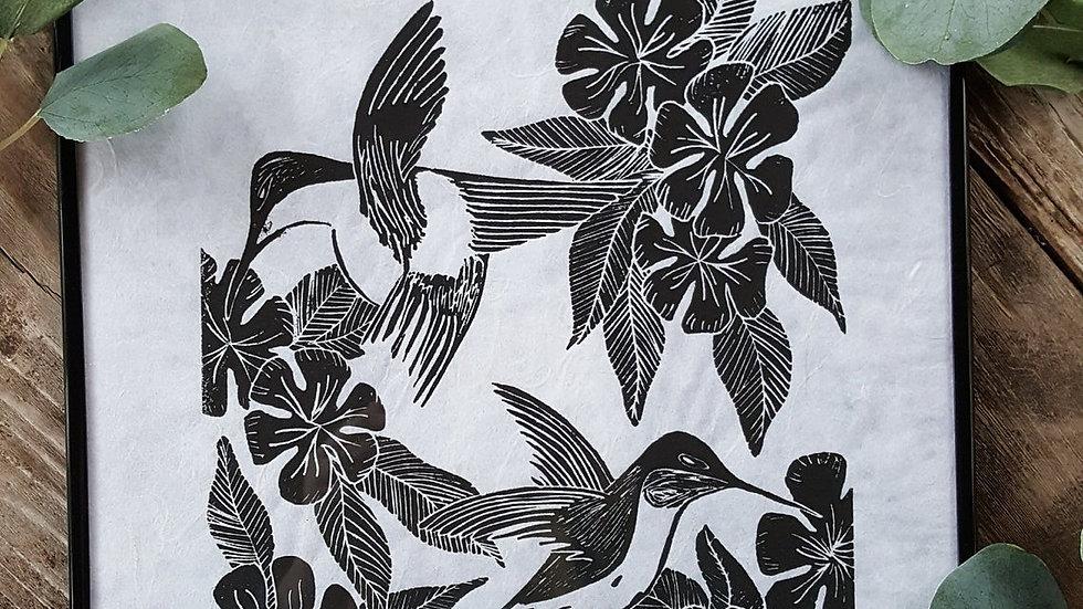 Hand Pulled, Linoleum Block, Hummingbirds Print