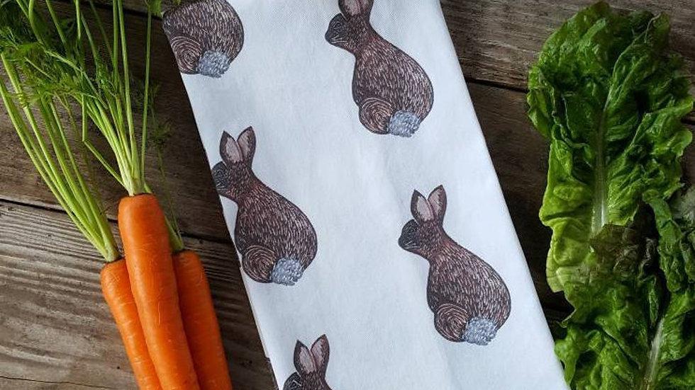 Handmade, 100% Cotton, Bunny Rabbit Tea Towel