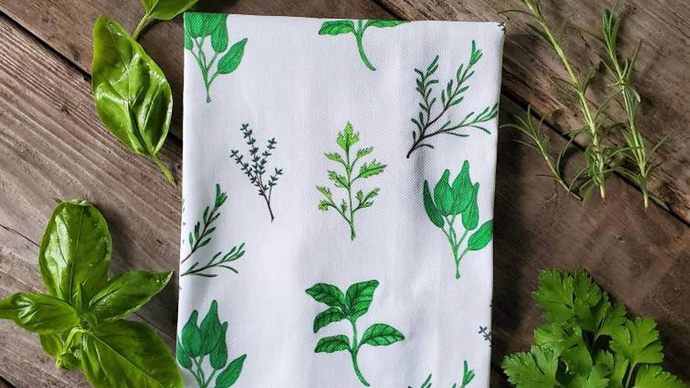 Handmade, 100% Cotton, Herb Tea Towel
