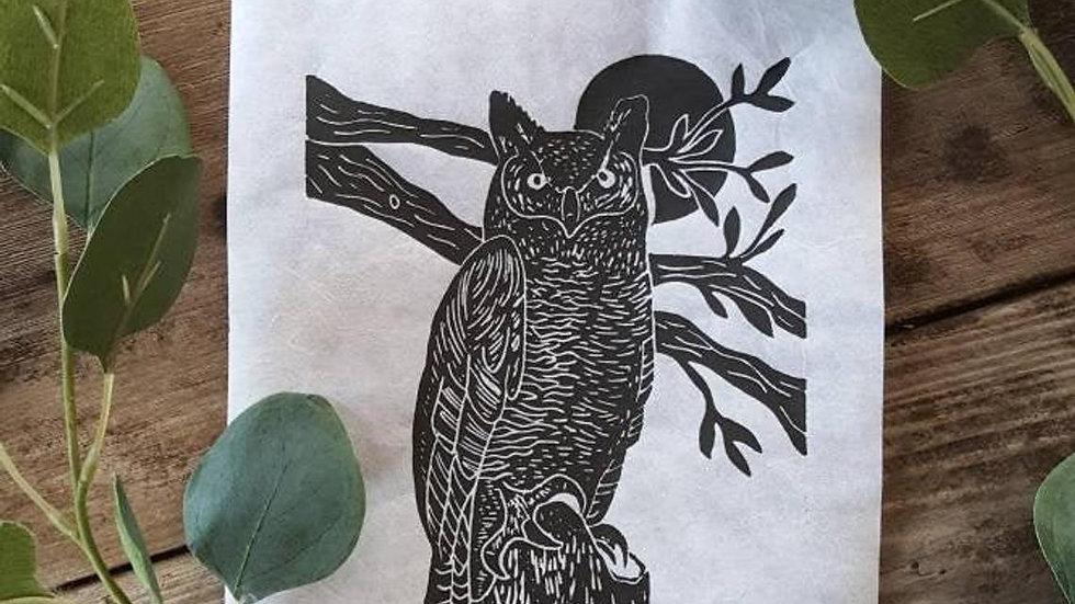 Hand Pulled, Linoleum Block, Owl Print