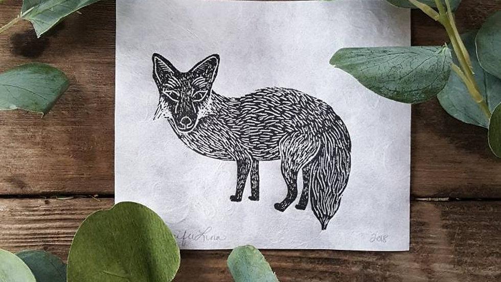 Hand Pulled, Linoleum Block, Fox Print