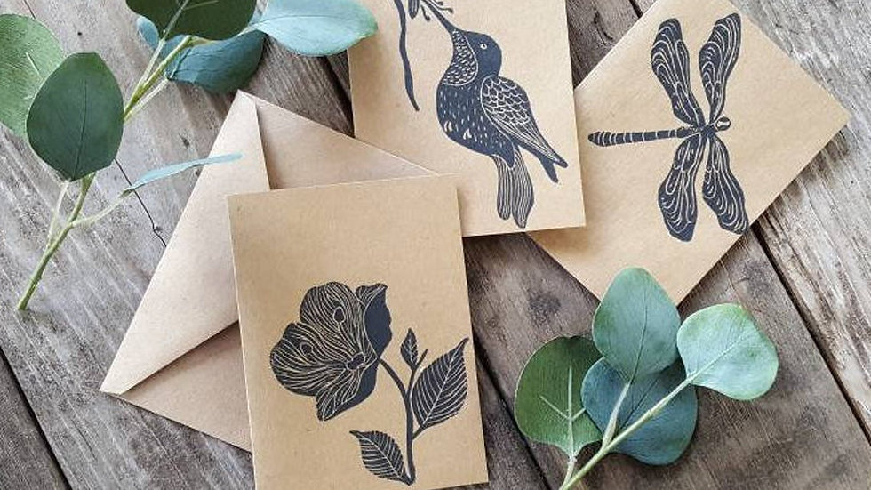 Hand Printed Nature Notecards