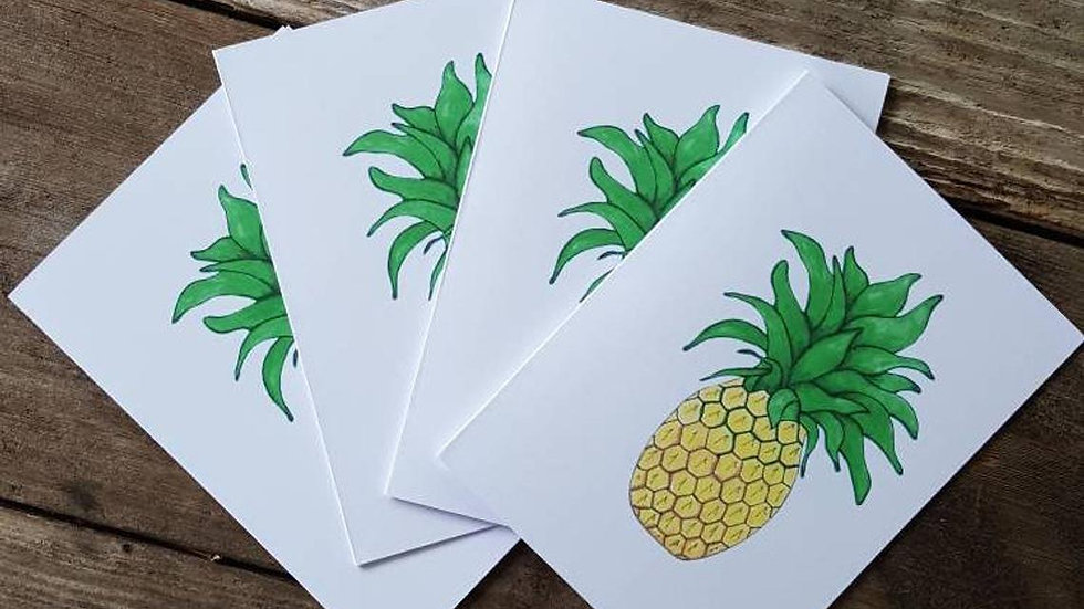 Hand Illustrated Pineapple Greeting Cards