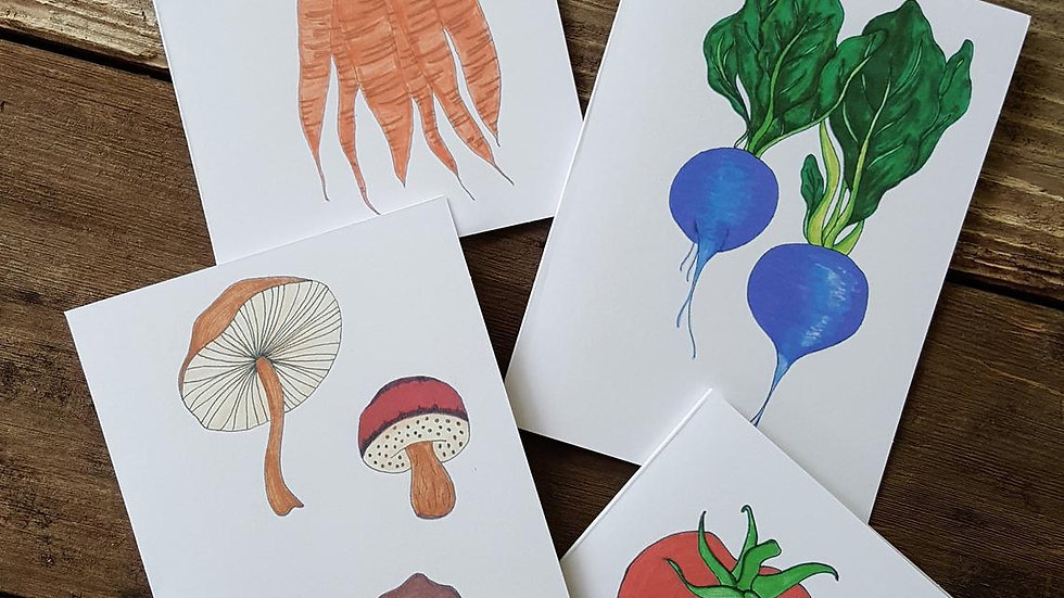 Hand Illustrated Veggie Greeting Cards