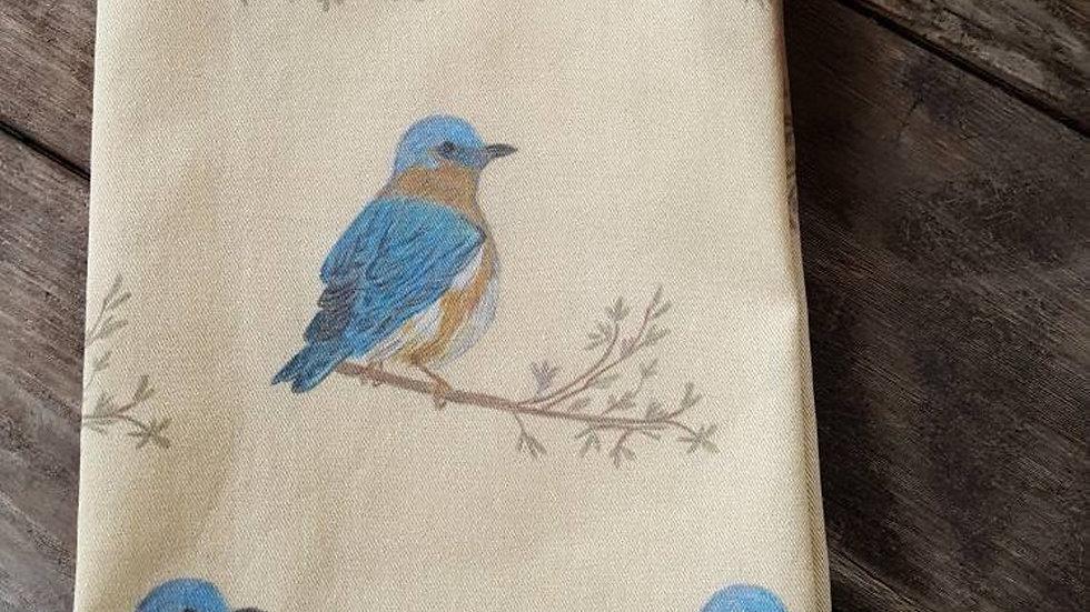 Handmade, 100% Cotton Bluebird Tea Towel