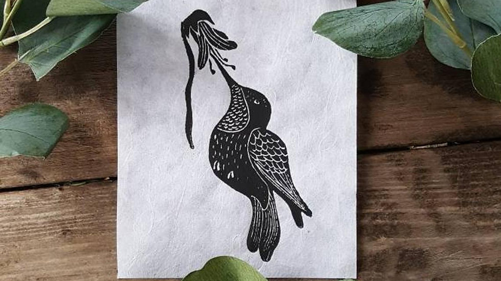 Hand Pulled, Linoleum Block, Hummingbird Print