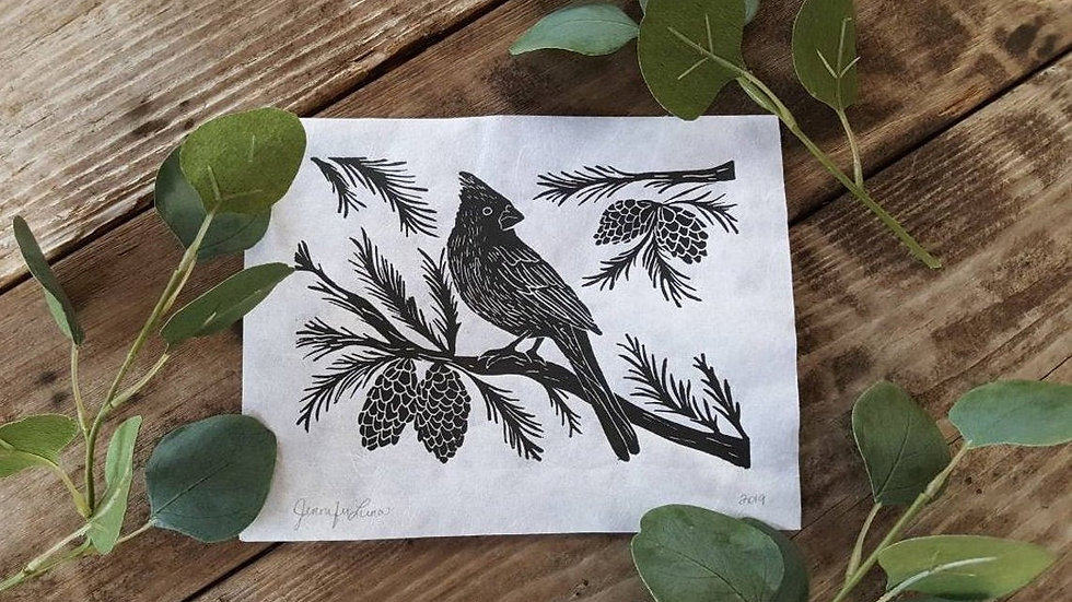Hand Pulled, Linoleum Block, Cardinal Print