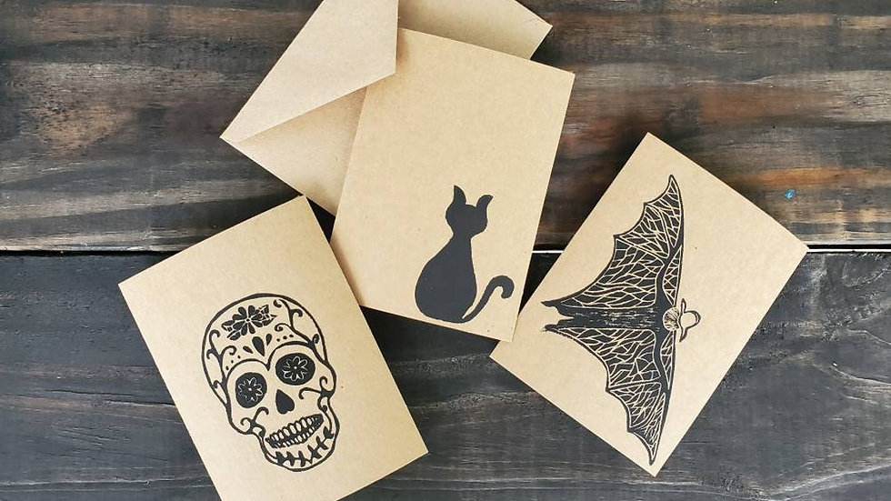 Hand Printed Spooky Notecards