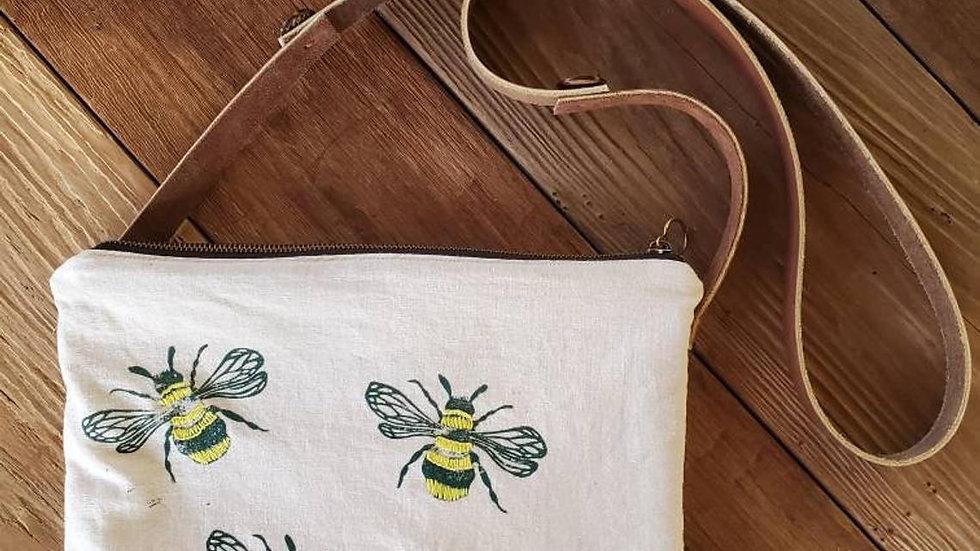Hand Printed, Hand Embroidered, Organic Cotton Honeybee Crossbody Zipper Bag