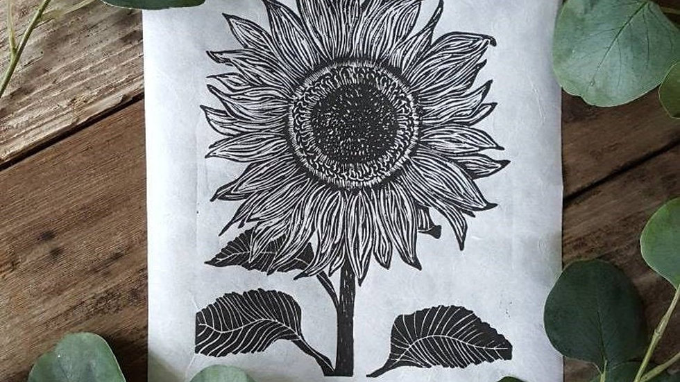 Hand Pulled, Linoleum Block, Sunflower Print