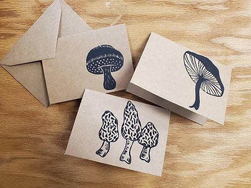 Hand Printed Mushroom Notecards