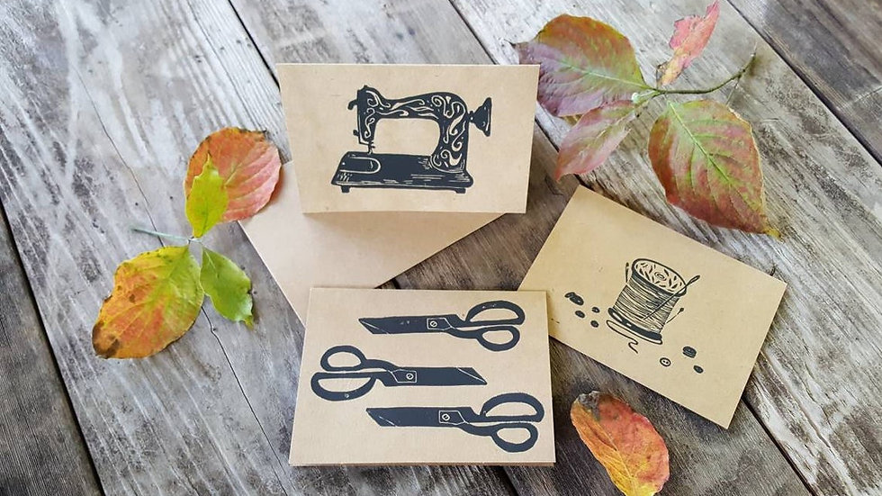 Hand Printed Seamstress Notecards