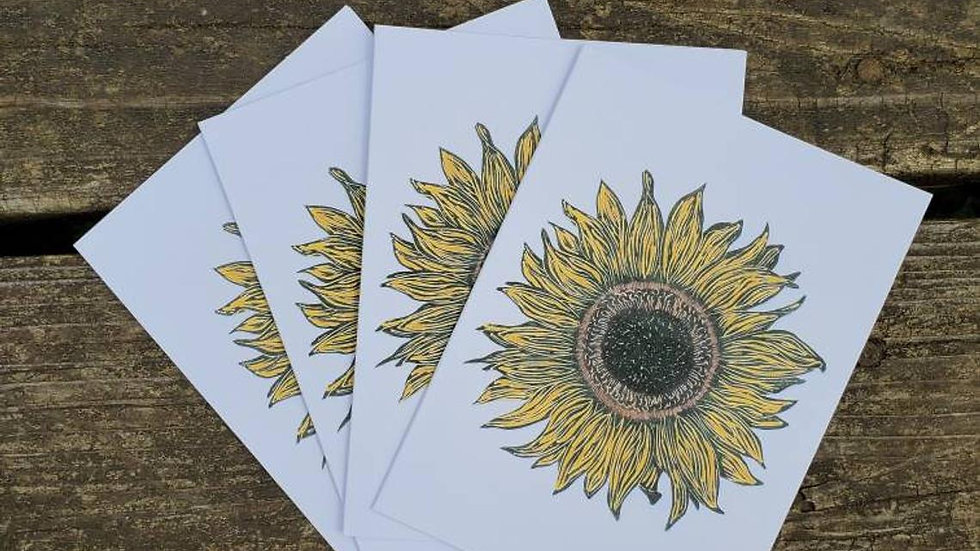Hand Illustrated Sunflower Greeting Cards