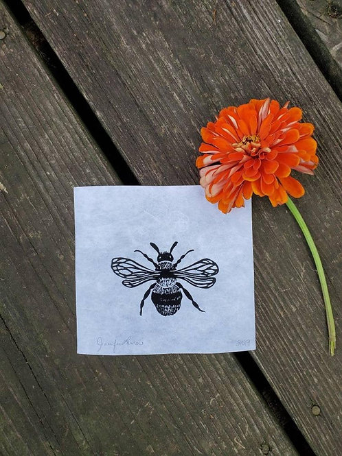 Hand Pulled, Linoleum Block, Honeybee Print