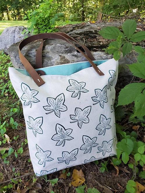 Handmade, Hand Printed, Organic Cotton, Ivy Leaf Tote Bag