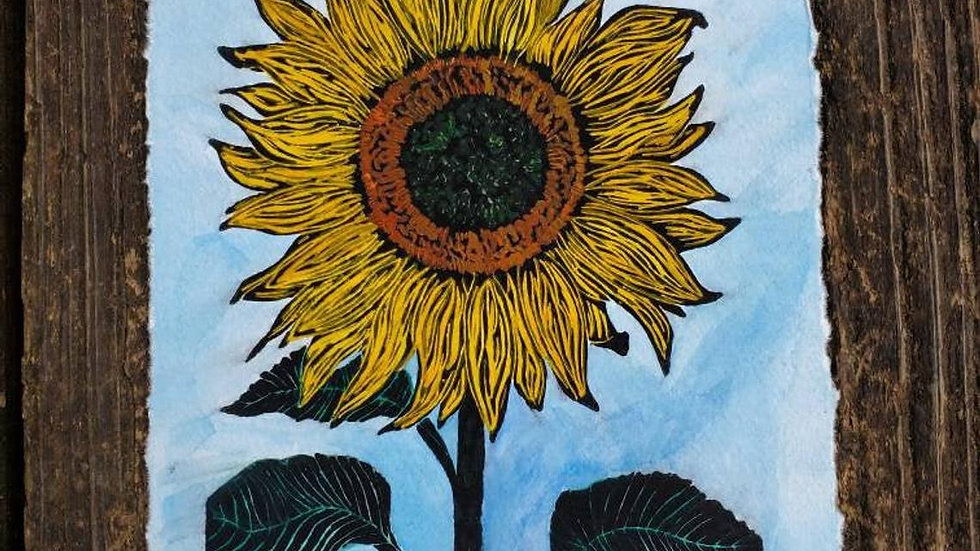 Linoleum Block Print, Sunflower Watercolor Painting