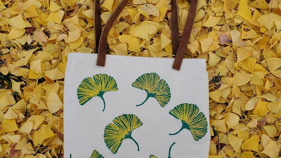 Hand Printed, Hand Embroidered, Organic Cotton Gingko Leaf Tote Bag