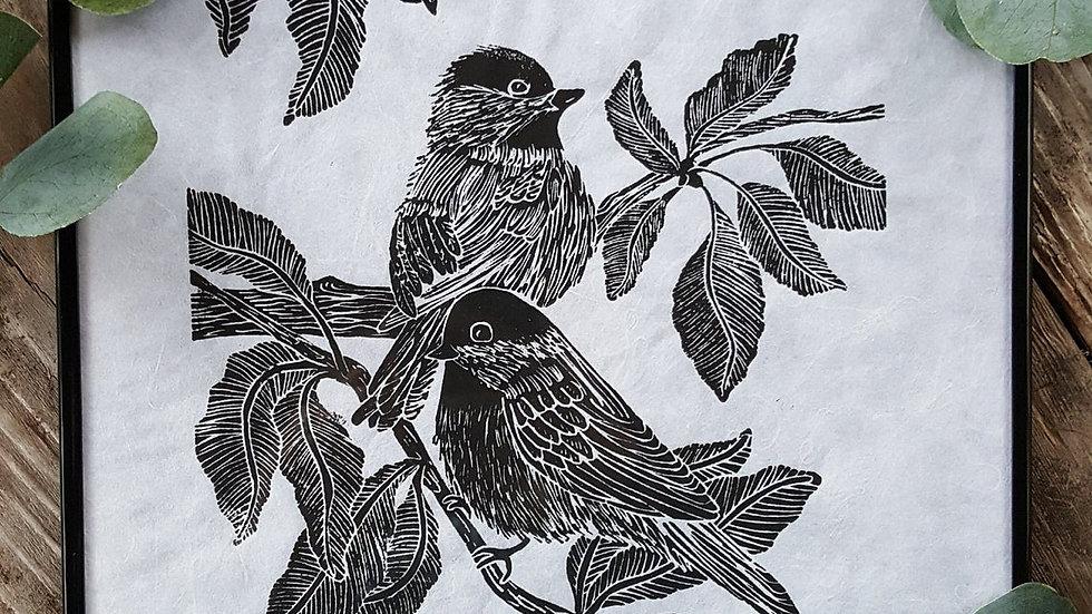 Hand Pulled, Linoleum Block, Chickadee Print
