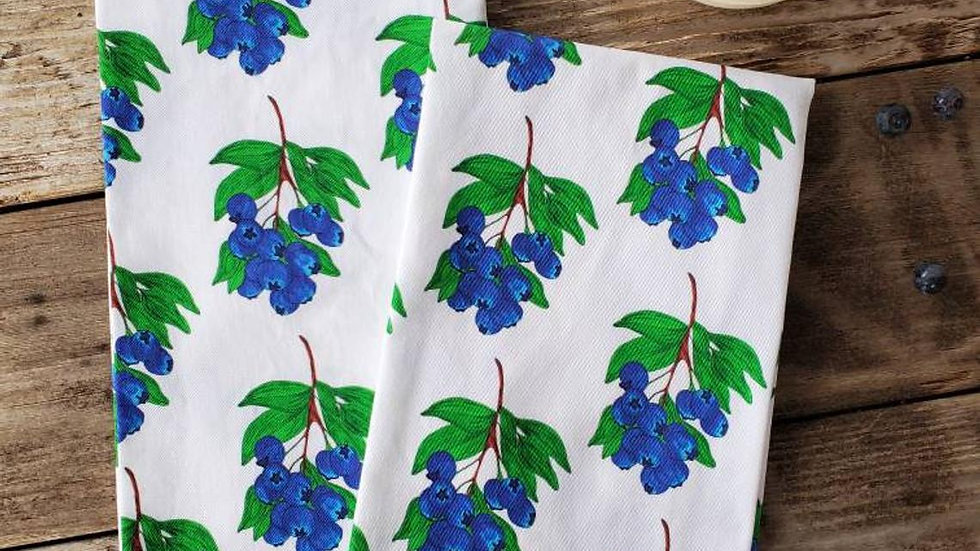 Handmade, 100% Cotton Blueberry Tea Towel