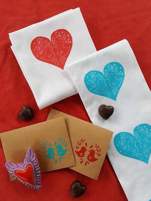 Handmade, 100% Cotton, Lovebird Tea Towel