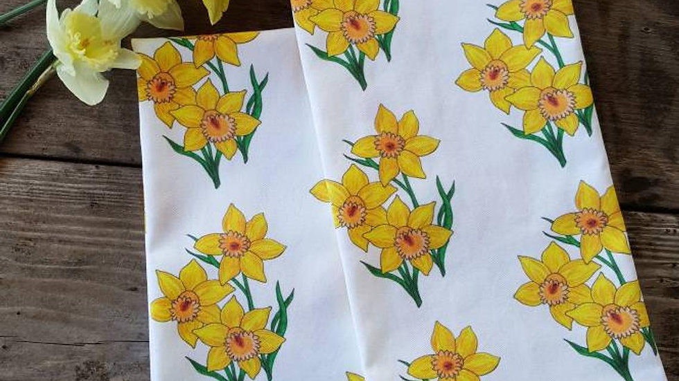 Handmade, 100% Cotton, Daffodil Tea Towel