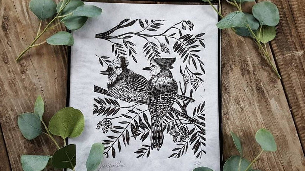 Hand Pulled, Linoleum Block, Blue Jay Print