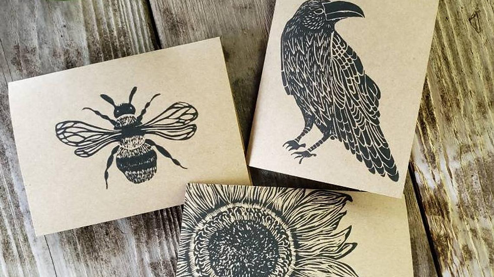Hand Printed Pollinator Notecards