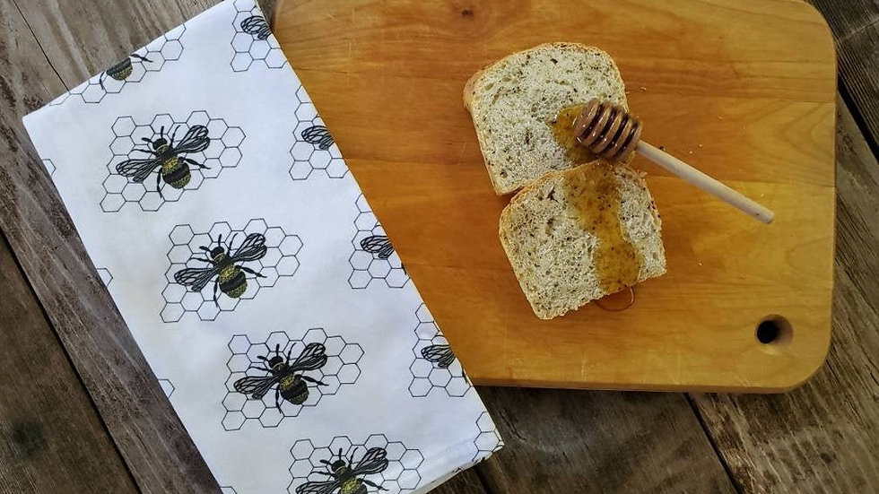 Handmade, 100% Cotton, Honeybee Tea Towel