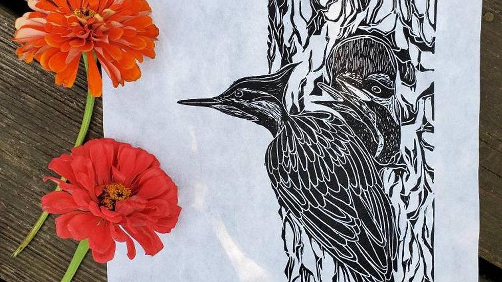 Hand Pulled, Linoleum Block, Woodpecker Print