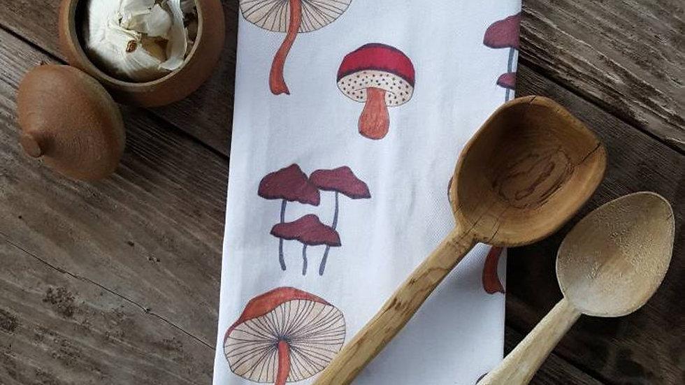 Handmade, 100% Cotton, Mushroom Tea Towel