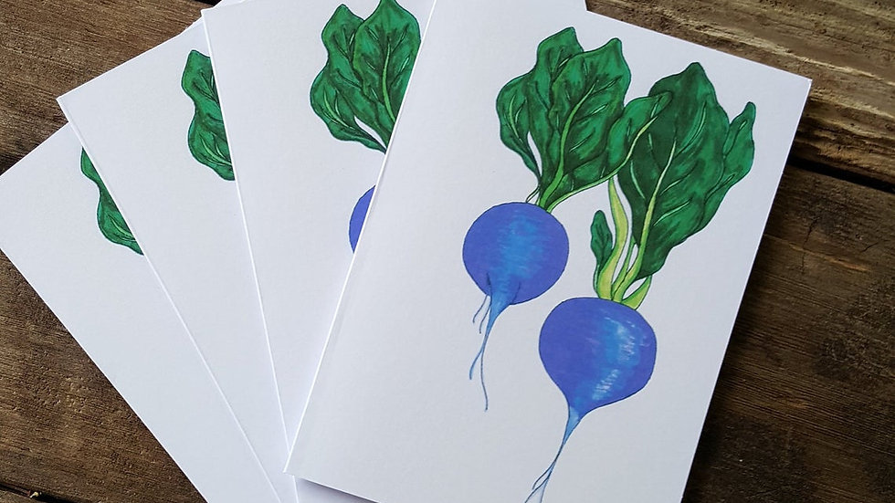 Hand Illustrated Radish Greeting Cards